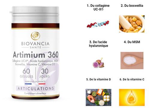 ARTIMIUM-360 vous apporte 6 actifs naturels qui agissent en synergie pour le confort des articulations